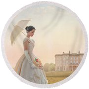 Victorian Woman With Parasol And Fan Round Beach Towel