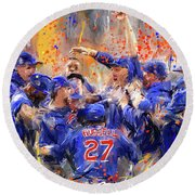 Victory At Last - Cubs 2016 World Series Champions Round Beach Towel