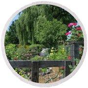 Victory Garden Lot And Willow Tree, Boston, Massachusetts  -30958 Round Beach Towel