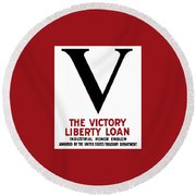 Round Beach Towel featuring the mixed media Victory Liberty Loan Industrial Honor Emblem by War Is Hell Store