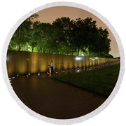 Vietnam Memorial By Night Round Beach Towel