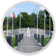 Vietnam Memorial In Vermont Round Beach Towel