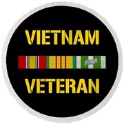 Vietnam Veteran Ribbon Bar  Round Beach Towel