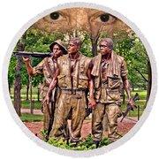 Vietnam War Memorial Three Servicemen Statue In Washington D.c. Altered Version IIi Round Beach Towel
