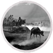 Vietnamese Water Buffalo  Round Beach Towel