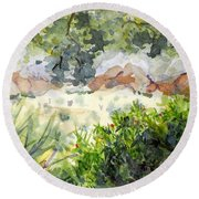 View At Red Rock Round Beach Towel by Vicki  Housel