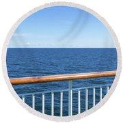 View At The Sea From Passenger Ship Round Beach Towel