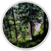 Round Beach Towel featuring the photograph View Downhill by Joseph Hollingsworth