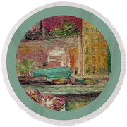 Round Beach Towel featuring the painting View From A Balcony by Mary Wolf