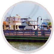 View From A Boat On The Hudson River Round Beach Towel