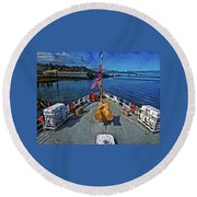 Round Beach Towel featuring the photograph View From The Deck by Thom Zehrfeld
