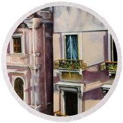 Round Beach Towel featuring the painting View From A Venetian Window by Marlene Book