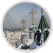 View From A Window Of The Moscow School Of Painting Round Beach Towel