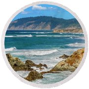 View From Abalone Point Round Beach Towel