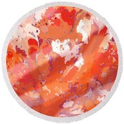 View From Above In Orange Round Beach Towel