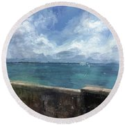 View From Bermuda Naval Fort Round Beach Towel