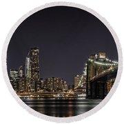 View From Brooklyn Bridge Park Round Beach Towel
