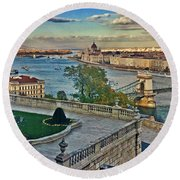 View From Castle Hill, Budapest, Hungary Round Beach Towel