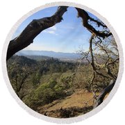 View From Cathedral Hills Round Beach Towel