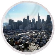 View From Coit Tower Round Beach Towel