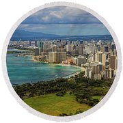 View From Diamond Head Round Beach Towel