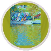 View From East Side Boardwalk Round Beach Towel