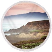 View From Fiscalini Ranch In Cambria Round Beach Towel