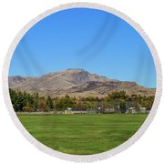 View From Gem Island Sport Complex Round Beach Towel