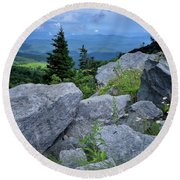 View From Grandfather Mtn Nc Round Beach Towel by Steve Hurt