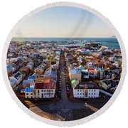 View From Hallgrimskirka Round Beach Towel