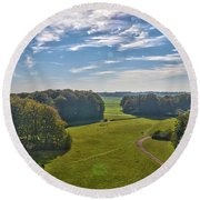 View From Lilac Mountain Round Beach Towel