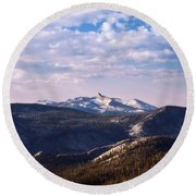 Round Beach Towel featuring the photograph View From May Lake by Sharon Seaward