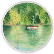 Round Beach Towel featuring the painting View From Millbay Ferry by Vicki  Housel