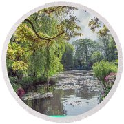 View From Monet's Bridge Round Beach Towel