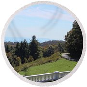 View From Moses Cone 2014a Round Beach Towel