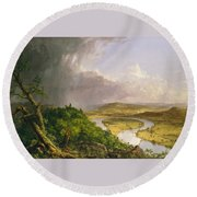 View From Mount Holyoke Northampton Massachusetts After A Thunderstorm. The Oxbow Round Beach Towel by Thomas Cole