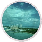 View From Port Everglades Round Beach Towel