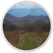 View From Silers Bald 2015a Round Beach Towel