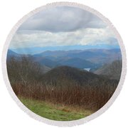 View From Silers Bald 2015c Round Beach Towel