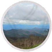 View From Silers Bald 2015d Round Beach Towel