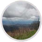 View From Silers Bald 2015e Round Beach Towel