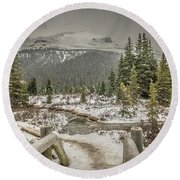 Round Beach Towel featuring the photograph View From The Bridge by Bill Howard