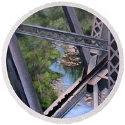 View From The Bridge--sedona, Az Round Beach Towel by Mary McCullah
