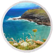 View From The Cliffs At Tintagel  Round Beach Towel