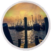 View From The Dock Round Beach Towel