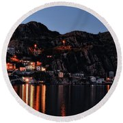 View From The Harbor St Johns Newfoundland Canada At Dusk Round Beach Towel