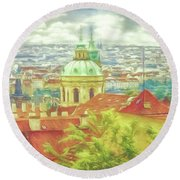 View From The High Ground - Prague  Round Beach Towel