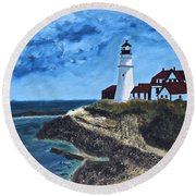 View From The North Portland Head Light Round Beach Towel