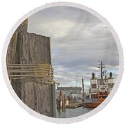 View From The Pilings Round Beach Towel