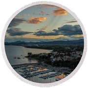 View From The Port Round Beach Towel
